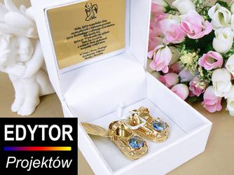 Buciki baletki niebieskie Chrzest Roczek Swarovski GRAWER, TABLICZKA - Złote buciki niebieskie kryształy