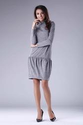 Ciemnoszara dzianinowa sukienka z golfem z obniżoną talią