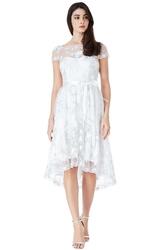 Biała sukienka na ślub cywilny z haftami i cekinami na ślub goddiva, 1498