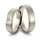 Obrączki ślubne dwukolorowe z sercem i brylantami - au-974