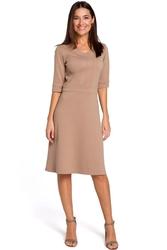 Beżowa sukienka midi o kroju litery a z rękawami do łokcia