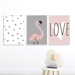 Zestaw plakatów dziecięcych - lovely flamingo , wymiary - 40cm x 50cm 3 sztuki, kolor ramki - biały