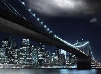Samoprzylepna fototapeta nowy jork brooklyn bridge noc