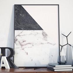 Plakat w ramie - marble art , wymiary - 60cm x 90cm, ramka - biała