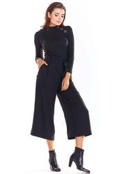 Czarny klasyczny sweter z półgolfem z guzikami