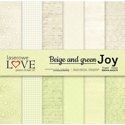 Papier 30,5x30,5 cm beige and green joy - zestaw