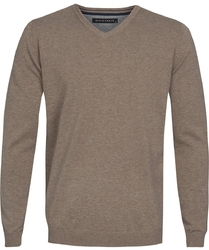 Beżowy sweter  pulower v-neck z bawełny  xxxl