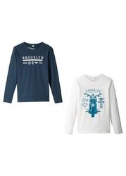 Shirt chłopięcy z długim rękawem 2 szt. bonprix biel wełny - ciemnoniebieski