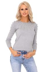Szary klasyczny sweter z perełkami