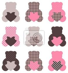 Naklejka słodkie retro streszczenie teddy brązowy i różowy