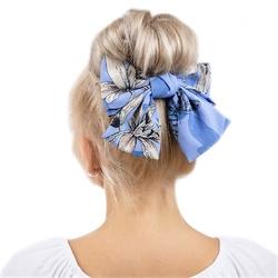 Spinka do włosów klamra kokarda niebieska duża