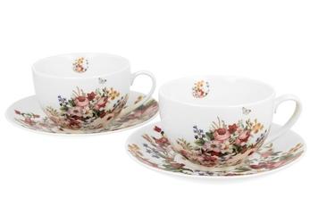 Duo filiżanki ze spodkami 280 ml 2 szt vintage flowers white