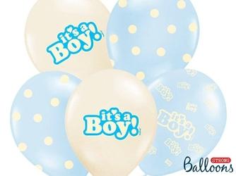 Balony 30 cm, its a boy, pastel mix, 1 op.6 szt.