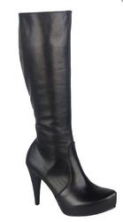 Obuwie kozaki damskie na platformie skóra naturalna czarne 687 elitabut - czarne