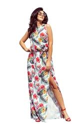 Letnia kwiecista sukienka do kostek maxi