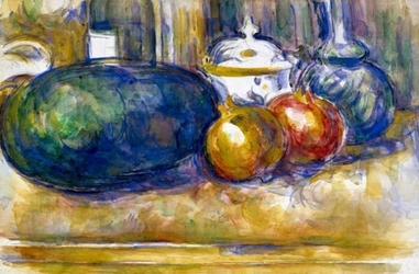 Still-life with a watermelon and pomegranates, paul cézanne - plakat