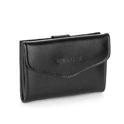 Skórzany portfel damski brodrene a-05 czarny - czarny
