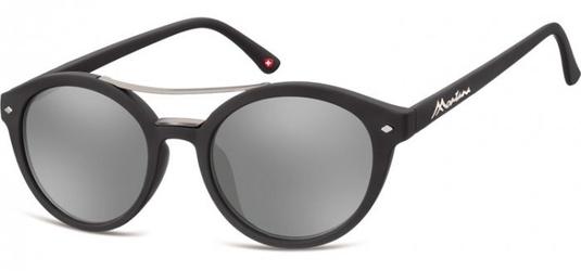 Okulary okrągłe czarne lenonki lustrzane ms21
