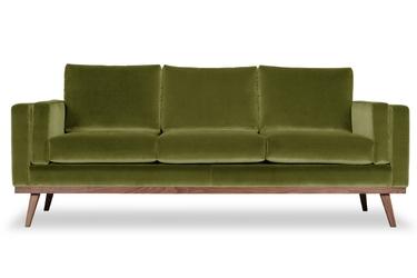 Sofa nenuphar 3-osobowa welurowa welur bawełna 100 oliwkowy