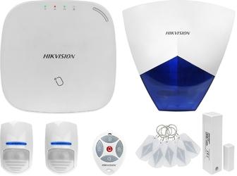 Za12663 bezprzewodowy system alarmowy gsm 4g 2 czujki ruchu hikvision z sygnalizatorem i pilotem