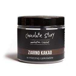 Ziarno kakao w czekoladzie - zdrowa przekąska w mlecznej czekoladzie 120g, 100 naturalnych składników, draże na bazie czekolady rzemieślniczej