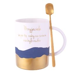 Kubek porcelanowy na prezent  do kawy i herbaty z łyżeczką altom design sentencje gold  blue 350 ml opakowanie prezentowe