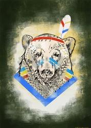 Miś indianin - plakat wymiar do wyboru: 30x40 cm