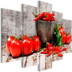 Obraz - czerwone warzywa 5-częściowy beton szeroki