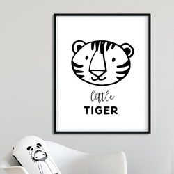 Little tiger - plakat dla dzieci , wymiary - 30cm x 40cm, kolor ramki - czarny