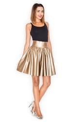 Złota plisowana rozkloszowana spódnica z wysokim stanem