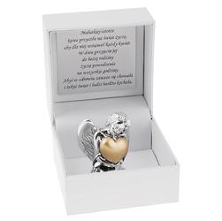 Aniołek Srebro Złote Serce Pamiątka Dedykacja