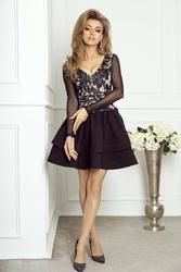 Rozkloszowana czarna sukienka z haftowaną cekinami koronką