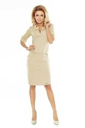 Beżowa sukienka ołówkowa ze stójką