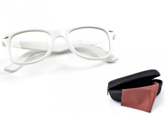 Białe okulary zerówki kujonki nerdy wayfarer  nerdy wayfarer