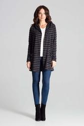 Czarny niezapinany sweter w paski z kapturem