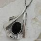 Fane - srebrny wisiorek z onyksem