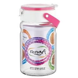 Słoik  pojemnik szklany do przechowywania żywności z plastikową pokrywą altom design 1,4 l różowy