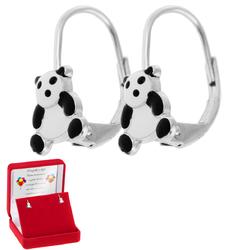 Srebrne kolczyki pr 925 Panda Dedykacja