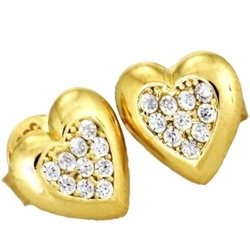Amore kolczyki złote serca z cyrkoniami