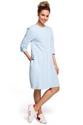 Luźna bawełniana sukienka z dekoltem na plecach błękitna m417