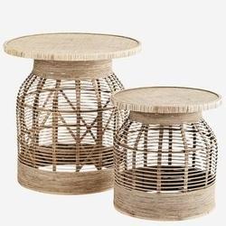 Madam stoltz :: zestaw dwóch stolików rattanowych naturalnych