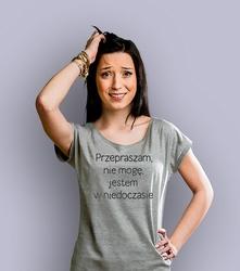 Jestem w niedoczasie t-shirt damski jasny melanż xxl