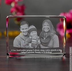 Zdjęcie grawerowane wewnątrz szkła • fotokryształ średni ozdobny
