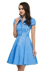 Błękitna rozkloszowana sukienka w drobne białe kropki, pin up na wesele 6089-3