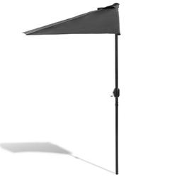 Duży parasol ogrodowy 270 cm z korbą półokrągły - antracyt