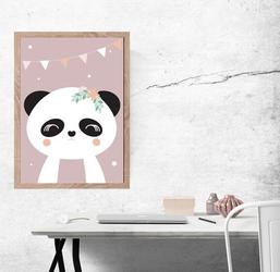 Panda ciemnoróżowe tło - plakat wymiar do wyboru: 59,4x84,1 cm