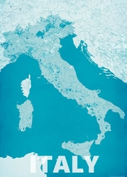 Italy, modern blue - mapa