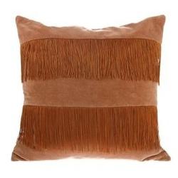 Hk living :: poduszka velvet z frędzlami brzoskwiniowabrązowa 50x50