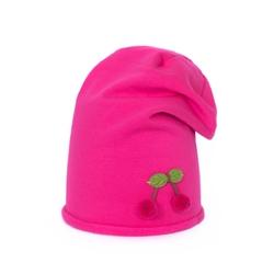 Czapka z wisienką różowa - RÓŻOWA
