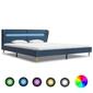 Vidaxl rama łóżka z led, niebieska, tapicerowana tkaniną, 180 x 200 cm